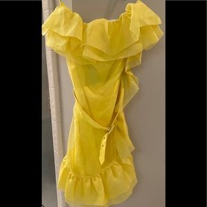 NWT Marciano Yellow Strapless Silk Ruffle Dress